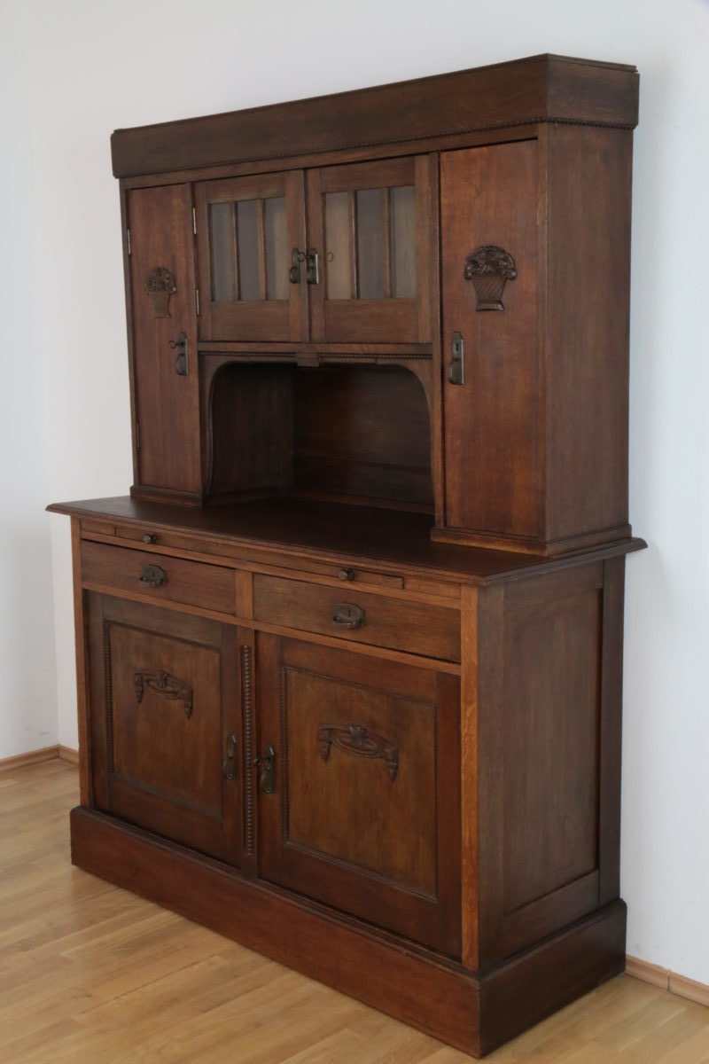 buffet jugendstil eiche massivholz anrichte esszimmer antik m bel salon ebay. Black Bedroom Furniture Sets. Home Design Ideas